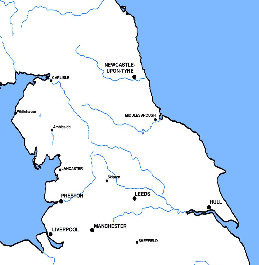 Map Of Northern England.Roller Ski Directory Map Of Northern England