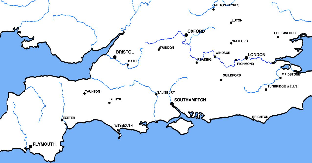 South Of England Map Uk.Roller Ski Directory Map Of Southern England